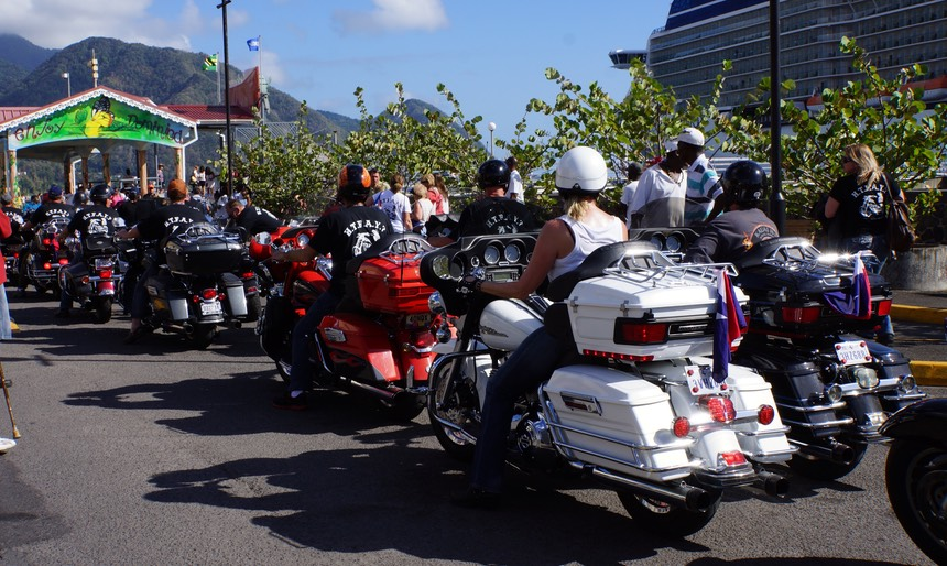 032113 4 Arrived Dominica Roseau Bay to find cruise ship with Harley Rider