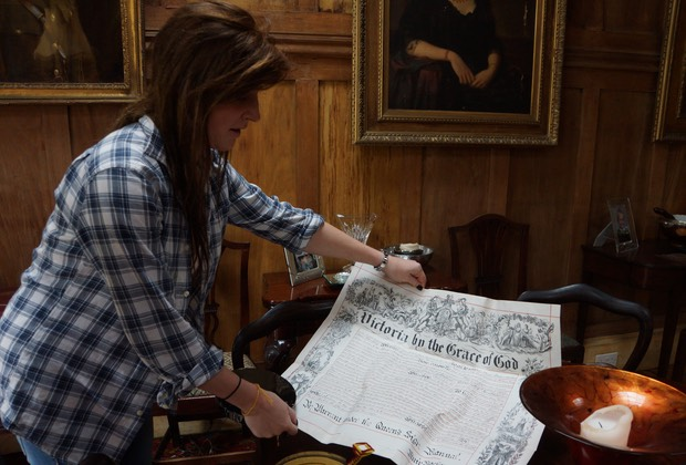 061313 Lunga House - Sara sharing a document signed from what we could read in the 57th year of the reign of Queen Victoria