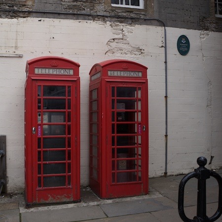 061913 5 Red Telephone Boxes should have made us realised that would mean no mobile phones or Internet Kirkwell Orkneys