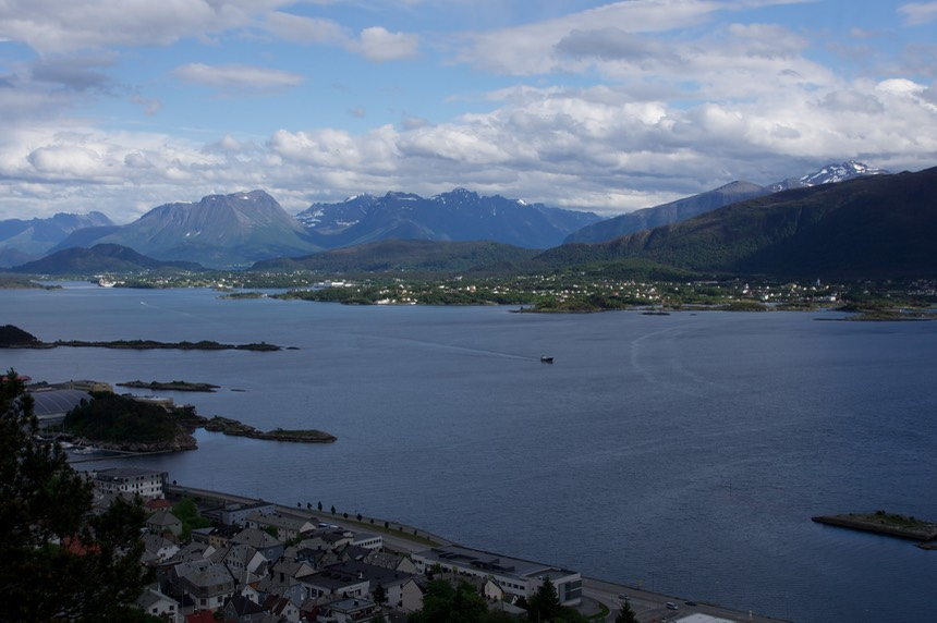 140611 12 The View of Alesund from Fjellstua 418 steps up looking south east