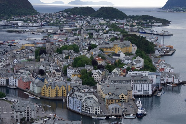 140611 5 The View of Alesund from Fjellstua 418 steps up