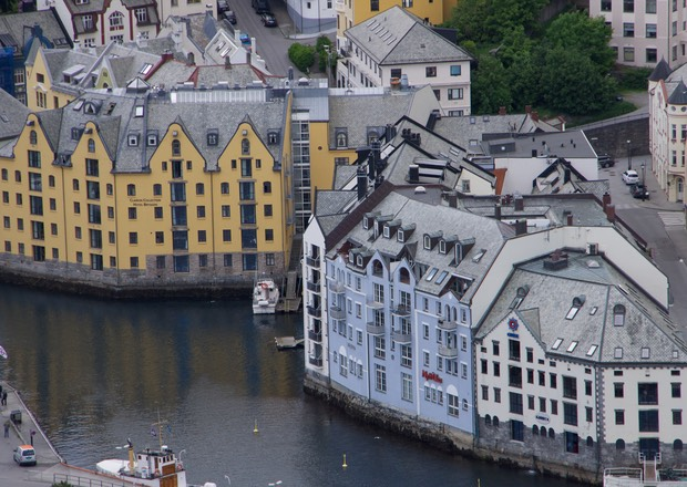 140611 8 The View of Alesund from Fjellstua 418 steps up