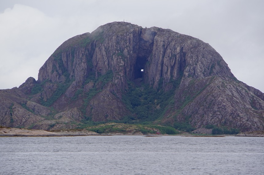 140618 10 Torghatten on the island of Torget from the sea