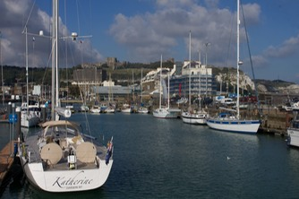 140912 9 Katherine secured Dover marina with castle as our backdrop.jpg