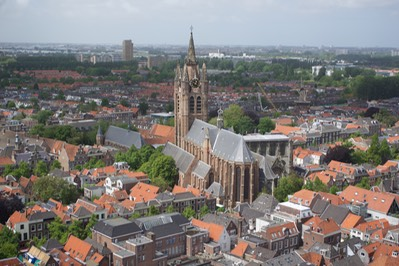150603 7c Return to Delft view from Church Tower Nieuwe Kerk of Ould Church.jpg