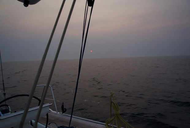 160813 Sailing in smoke haze from Porto to Peniche