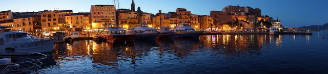 170614 11 Calvi Harbour by night Panorama
