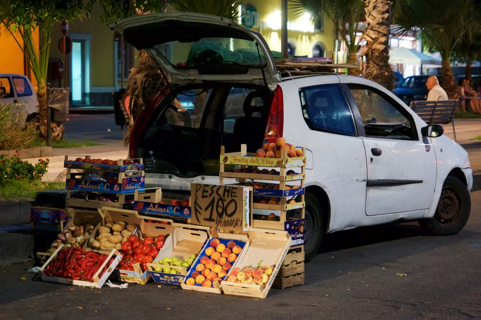 170727 14 The port Riposto  Port Di Etna Fruit market stall