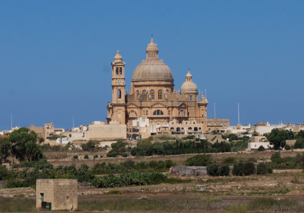 170801 Touring Gozo by Hop on Hop Off Bus one of many Churches
