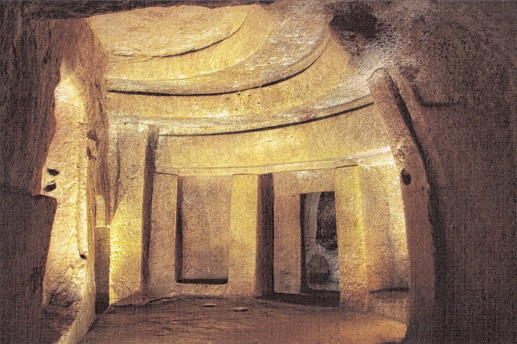 170803 5 middle level Holy of Holies Chamber  hal saflieni Hypogeum postcard