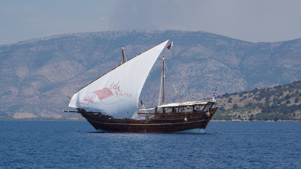 190820 2 Heading for Albania passed this traditional boat