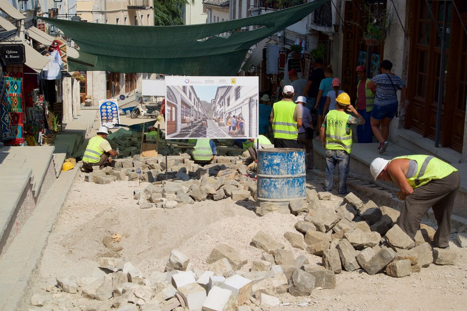 190823 1a Walking Gjirokaster there beautiful pavement being replaced